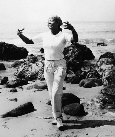 Maya Angelou, 1970 on the beach in San Francisco