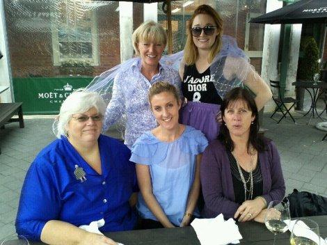 Sittting from left:  Mary Robbins, Jane McDermott, Caroline White.   Back row, on left:  Catherine Crosthwaite, Hannah Finnegan-Walsh