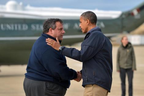 Gov. Christie (R-NJ) and Pres. Obama (D)