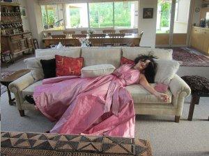 Sarah-Kate Lynch on her birthday in her Oscar dress.