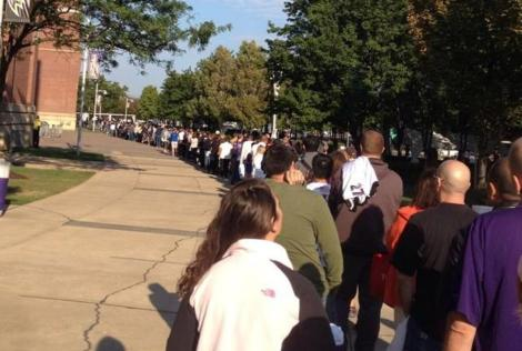 Fans lined up to return Ray Rice jerseys Credit:  NY Daily News