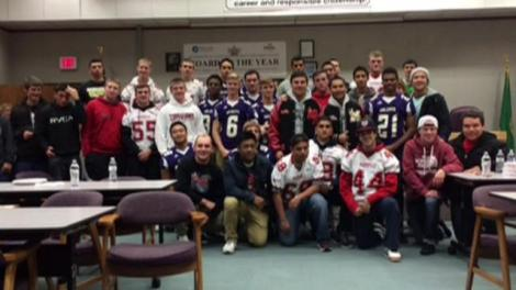 The Oak Harbor and Marysville Pilchuck, WA football teams came together in solidarity after the shooting