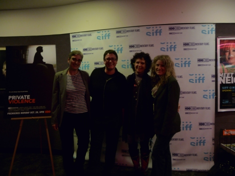 Merril Cousin (Executive Director, King County, WA Coalition), Beth Barrett (SIFF), Kit Gruelle, and Cynthia Hill