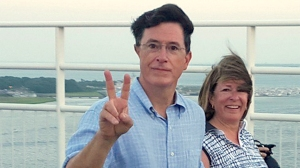 Stephen Colbert walks in a unity chain on the ravanel bridge in Charleston in support of those lost in the church shooting.
