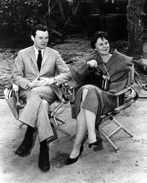 Producer Alan J. Pakula and Harper Lee on the set of To Kill a Mockingbird