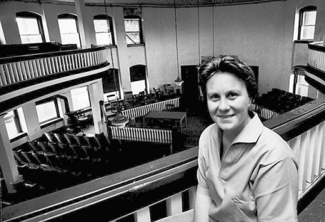 Harper Lee in the balcony of the old courthouse in Monroeville, Alabama, May, 1961