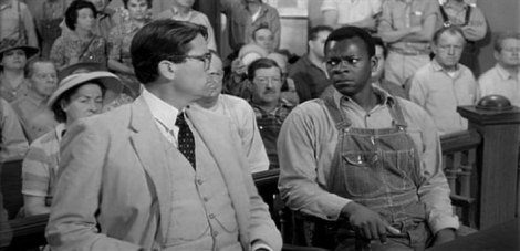 Atticus and Tom Robinson during the trial in To Kill a Mockingbird