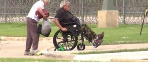 Pedophile, former House Speaker Denny Hasters (R-IL) being wheeled into prison by his wife.