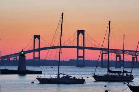 Claiborne Pell Bridge at sunset