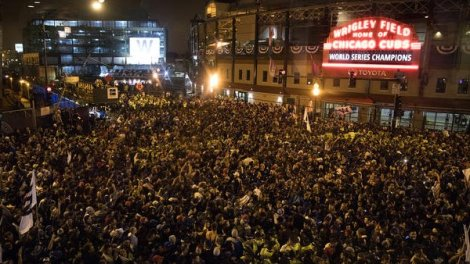 Cubs fans celebrating outside Wrigley Field