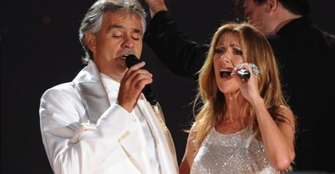 "Andrea Bocelli and Céline Dion singing ""The Prayer"""