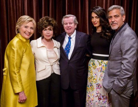 Hillary Clinton, Carole Bayer Sager, Bob Daly, Amal and George Clooney